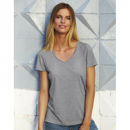 T-shirt dame col V triblend