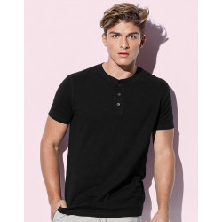 T-shirt homme col 3 boutons